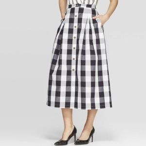 [Who What Wear] Gingham Plaid A-line Midi Skirt